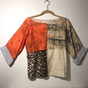 L.P.O. Laurence Mahéo Patchwork Silk Blouse Small